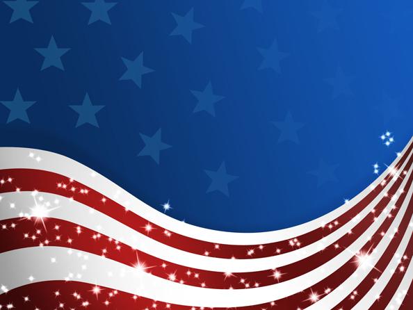 Wavy USA Flag With Stars
